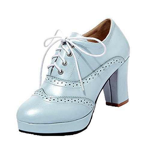 AllhqFashion Femme Lacet à Talon Haut Pu Cuir Couleur Unie Rond Chaussures Légeres Bleu