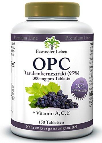 BIOMENTA® OPC-Traubenkernextrakt – mit 900 mg OPC hochdosiert (95%) + Astaxanthin + Vitamin A, C, E - 150 VEGANE OPC-Tabletten