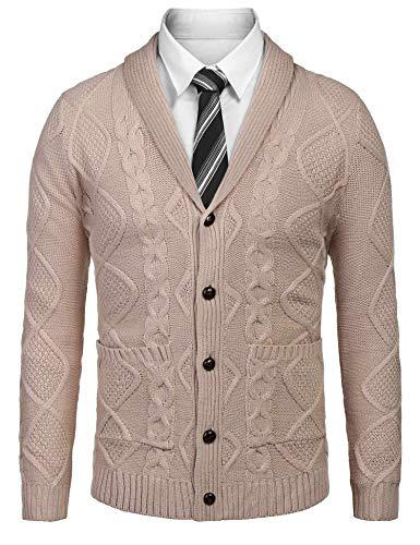 zeela Herren Strickjacke Cardigan Feinstrick Grobstrick Zopfmuster Pullover Schal-Kragen mit V-Ausschnitt und Knopfleiste