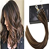 LaaVoo 35cm Microring Hair Extensions Karamell Blonde und Dunkel Braun #4/27 Highlight Hair Extension Ring Beads fur Microrings 50Gramm