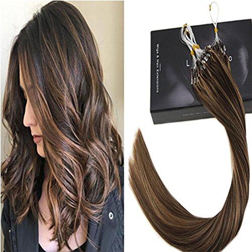 Laavoo 55 cm microring extension lunghe colorate cioccolato misto bionda caramellata (colore #4/27) capelli lisci veri naturali 1g*50filo