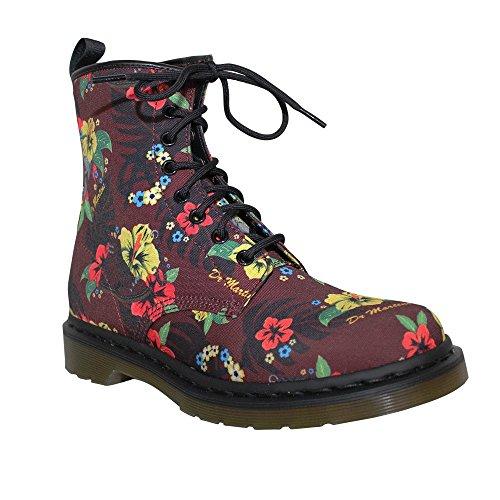"""Dr.Martens Canvas Boots """"Castel"""" Cherry Hawaiian Punk (8 Loch) Rot"""