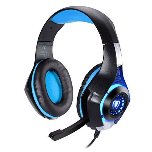 Samoleus cuffia da gioco per ps4 con microfono, 3,5mm led light stereo cuffie surround cuffie oltre l'orecchio per ps4 pc xbox one (blu)