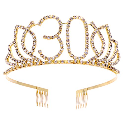 Beaupretty Tiara Cumpleaños 30 Años Cristal Corona