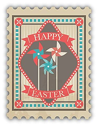 Happy Easter Fan Postage Stamp De Haute Qualite Pare-Chocs Automobiles Autocollant 10 x 12 cm