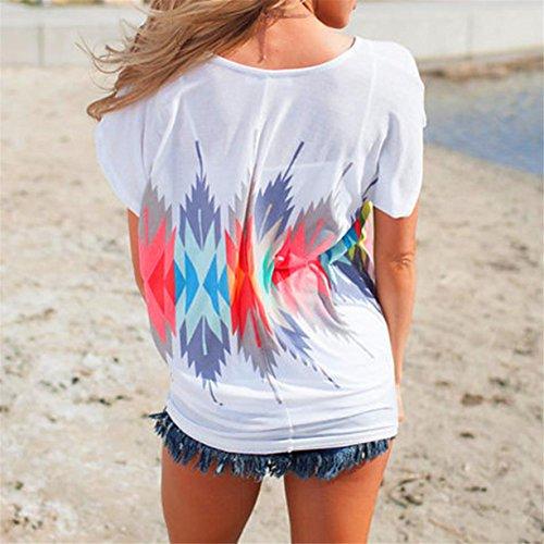 CYBERRY.M T-shirt Été Femme Casual Manches Courtes Lâche Plume Tee Chemise Blouse Blanc