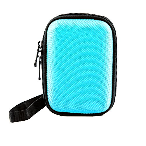 iProtect Universal Kamera Hülle Tasche extra stoßfest mit Schultergurt und Gürtelschlaufe in blau