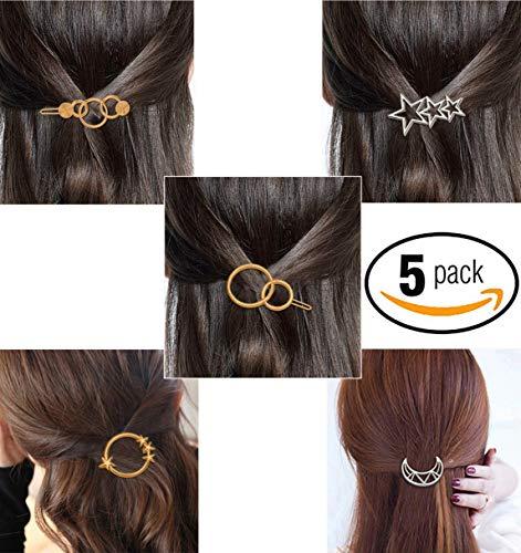 FOK Women's Non Precious Metal Minimalist Moon Star Sun Design Hair Clip Pin (Gold)-Set of 5 Pieces