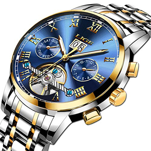 LIGE Wasserdicht Mode Herrenuhr automatisch Maschinen Edelstahl Uhren Männer Gold blau Armbanduhr