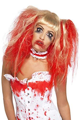 Smiffys Damen Bluttropfen Perücke, One Size, Rot und Blond, 35768