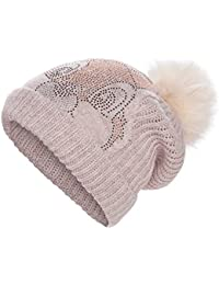 CODELLO Bommelmütze Strickmütze mit Strass KLOPFER Disney weiß rosa grau schwarz 72118802