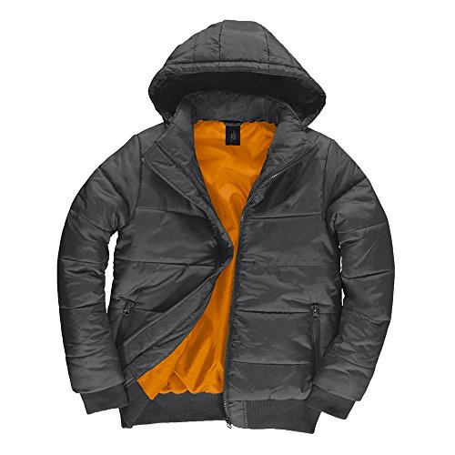 B&C - Herren Jacke 'Superhood' Dark Grey/Neon Orange