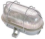 as - Schwabe Ovalleuchte – Gitterleuchte bis 60W - LED Spot geeignet als Deckenleuchte oder Wandleuchte für Außenbereich und Innenbereich – Helle Feuchtraum Lampe mit LED - Hellgrau I 56200