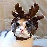 Demiawaking Cappello per Gatto e Cane Domestico a Forma di Renna Cappelli Costumi Cosplay di Natale