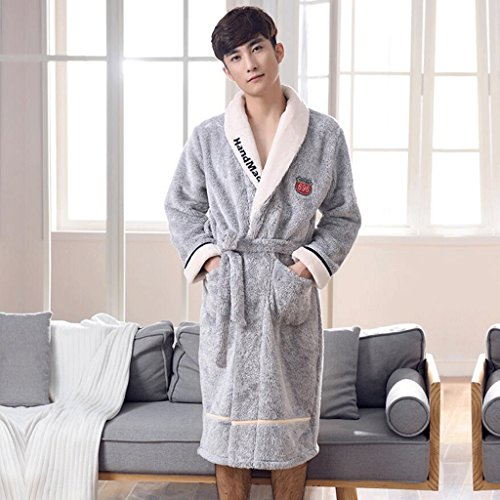 Bathrobes ZLR Men's Autumn Winter Season Pure Cotton Sleep Robe Thickening Youth Home Clothes Pajamas