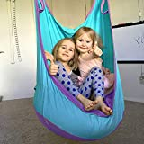 LOY Niños Que cuelgan Silla giratoria de Tela Asiento de Hamaca para Uso en el Interior de Hamaca Plegable para niños o Adultos (de 3 a 9 años),Azul