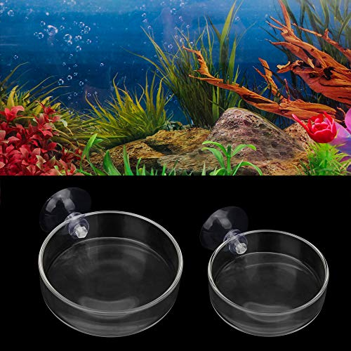 SENZEAL Glass Shrimp Feeding Dish Bowl Tray Food Feeder Bowl Container for Aquarium Fish Tanks Reptiles Home Kitchen Round with Suction Cup 2pcs