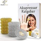 Akupressur Ring 12er Set - Hochwertiger Akupressurring Finger Massage Ring (Silber+Gold, 10er Set)