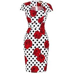 Vestido de Verano para Las Mujeres de Impreso Casual Floral Vestido del Partido Vintage Tamaño M CL7597-12