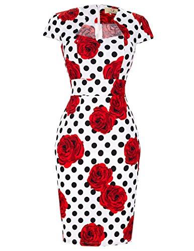 GRACE KARIN Femme Robe Crayon Vintage à Fleurs Rouges Manche Courte Taille S CL7597-12