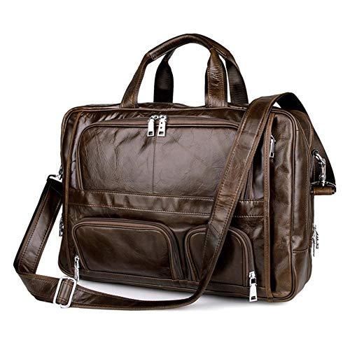 XXXSDD Herren Aktentasche Brown Double PC Pockets Leder Tote Laptop Business Umhängetasche Pocket-pc-leder