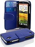 Cadorabo - Book Style Hülle für HTC DESIRE X - Case Cover Schutzhülle Etui Tasche mit Kartenfach in KÖNIGS-BLAU