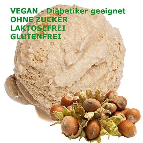 Haselnuss Geschmack Eispulver VEGAN - OHNE ZUCKER - LAKTOSEFREI - GLUTENFREI - FETTARM, auch für Diabetiker Milcheis Softeispulver Speiseeispulver Gino Gelati (Haselnuss, 333 g)