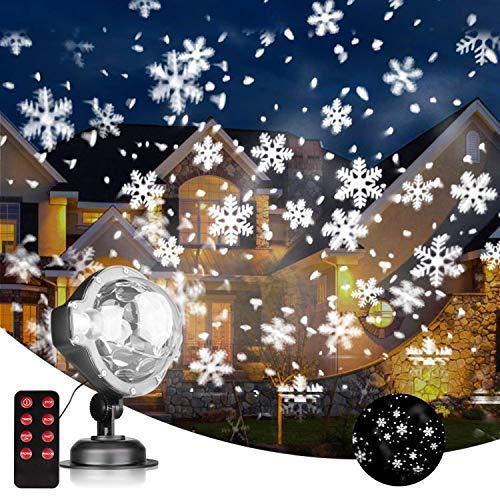 EAMBRITE LED Schneefall Projektor Licht Schneeflocke Projektionslampe Außen Wasserdicht Weihnachtsbeleuchtung mit drahtloser Fernbedienung und Timing Funktion Innen Dekoration Halloween Beleuchtung