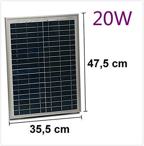 Solarmodul 20W 12V mit Kabel 150cm Solarzelle Solarpanel Polykristall