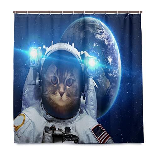 Wamika Cat In Outer Space Badezimmer Duschvorhang Liner, Design strapazierfähiger Stoff schimmelresistent Wasserdicht Badewanne Vorhang mit 12 Haken 183,0 cm x 183,0 cm (Space Dekor Outer)