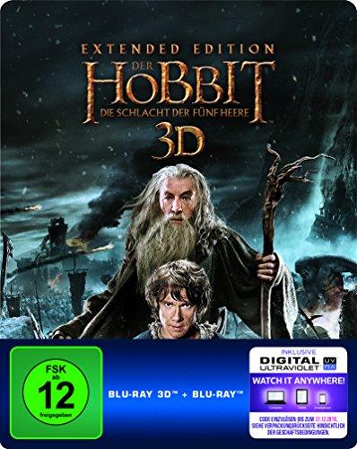 Der Hobbit: Die Schlacht der fünf Heere - Extended Edition Steelbook (exklusiv bei Amazon.de) [3D Blu-ray] [Limited Edition] - Ringe Der Komplette Sammlung Herr