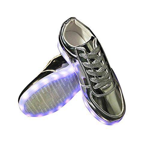 DOGZI Sneakers Damen Turnschuhe Damen High Top Laufschuhe Damen Wanderschuhe Damen Frauen Sportschuhe LED Schuhe USB Lade Leuchten Glow Schuhe Fashion Sneakers Flashing Leucht