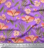 Soimoi Lila Viskose Chiffon Stoff Blätter & Blumen