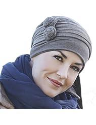 Pañuelo Asana marrón cálido jaspeado con lazadas largas multiposición en bambú ultra suave para mujeres en quimioterapia