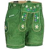 PAULGOS Damen Trachten Lederhose + Träger, Echtes Leder, Kurz in 8 Farben Gr. 34-50 M1, Damen Größe:38, Farbe:Grün