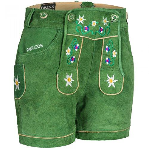 PAULGOS Damen Trachten Lederhose + Träger, Echtes Leder, Kurz in 8 Farben Gr. 34-50 M1, Damen Größe:48, Farbe:Grün