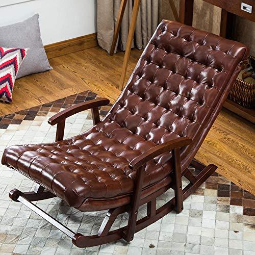CZPF Faules Sofa Wohnzimmer Balkon Mittagspause Single Massivholz Leder Sofa Liege European Sofa Schaukelstuhl New Chinese - Gepolsterte Hocker Schaukelstuhl