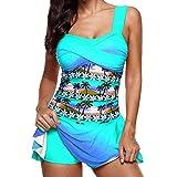 Huihong Damen Tankini Farbverlauf Regenbogen Gepolsterten Badeanzug Mit Röckchen Badekleid Mit Shorts Mode Große Größen Swimsuit (Blau-A, 5XL)