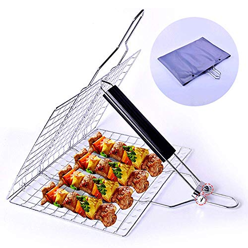 BOLLAER Outdoor Barbecue Grilling Basket, Portable Stainless Steel BBQ Grill Basket Roast for Fish, Vegetable, Steak, Shrimp, Long Handle Holder Grill Rack with Easy Carrying Bag