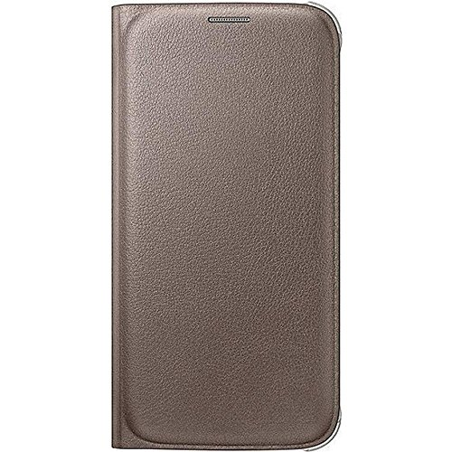 Samsung Leather-Effect Flip Folio Wallet Schutzhülle Case Cover in Kunstleder mit Kreditkartenfach für Galaxy S6, gold Folio Wallet Leather Case