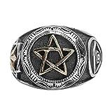 Epinki 925 Sterling Silber Gotik Auge Gottes Schädel Pentagramm Ring Herren Ringe Bandringe Siegelring Gr.54 (17.2)