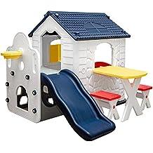 LittleTom Kinderspeelhuisje met Glijbaan - Tuin Kinderhuisje vanaf 1 - overdekt Kinder Speelhuisje plastic