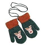 Huhu833 Kleinkind Baby Mädchen Jungen Handschuhe Little Deer Print Winter warme Weihnachten Kinder Handschuhe (Grün)