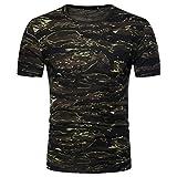 VEMOW Heißer Sommer Männer Casual Sport Camouflage Print O Neck Pullover T-Shirt Top Bluse (52 DE/M CN, Armeegrün)