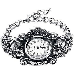 Alquimia gótico Inglaterra–corazón de Lazarus–Gótico oscuro ángel con alas calavera pulsera muñeca reloj
