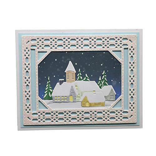 periwinkLuQ Weihnachten Stanzschablone Schneehaus Stanzbögen Stanzmaschine Stanzformen für Scrapbooking Kartenbasteln Silber