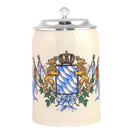 Bierkrug inkl. Wunschgravur auf Zinndeckel,Geschenkidee zum Geburtstag oderJubiläum, Steinkrug von Bavariashop