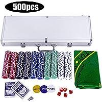 GOPLUS Mallette Poker,Coffret de Poker avec 500 Jetons,Etui en Aluminium-Noyau Métallique-2 Jeux de Cartes-5 Dés-1 Tapis
