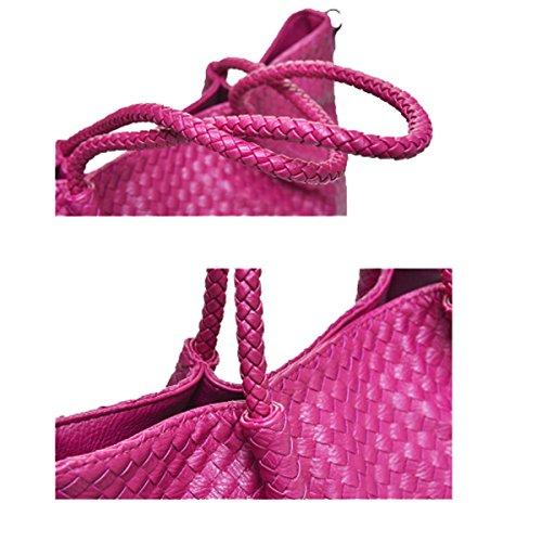 Frauen Weave Top Griff Schulranzen Handtaschen-Taschen-Geldbeutel-Schulter-Beutel Silver