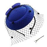 Umeepar Damen Bowknot Pillbox Fascinator Hut Hochzeit Tea Party Hüte mit Schleier Stirnband Clip (Blau)